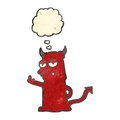 Retro cartoon rude little devil Stock Images