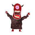 Retro cartoon scary monster illustration on plain white background Royalty Free Stock Photos