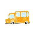 Retro cartoon school bus illustration on plain white background Royalty Free Stock Photos