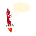 Retro cartoon screaming rocket Stock Images