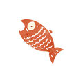 Retro cartoon shocked fish with texture isolated on white Stock Photo