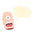 Retro cartoon shouting mutant head Royalty Free Stock Photo