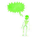 Retro cartoon shrieking green skeleton Stock Images