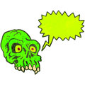Retro cartoon shrieking green skull Royalty Free Stock Photo
