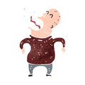 Retro cartoon shrieking man illustration on plain white background Stock Photography