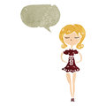 Retro cartoon skinny woman with speech bubble Stock Image