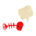 Retro cartoon skull fish bones symbol Stock Photo