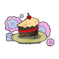 Retro cartoon slice of cake Royalty Free Stock Photos