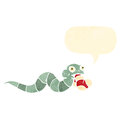 Retro cartoon snake eating sock Royalty Free Stock Photo