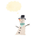 Retro cartoon snowman Stock Photos