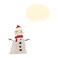 Retro cartoon snowman Stock Images