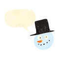 Retro cartoon snowman face Stock Images