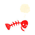 Retro cartoon spooky fish bones Royalty Free Stock Images