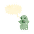 Retro cartoon spooky shrieking ghost Stock Images