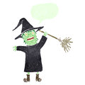 Retro cartoon spooky witch casting spell Stock Photography