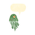 Retro cartoon squid Stock Images