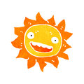 Retro cartoon sun with face illustration on plain white background Stock Image