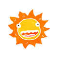 Retro cartoon sun with face illustration on plain white background Stock Photography