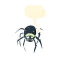 Retro cartoon tarantula with speech bubble Stock Image