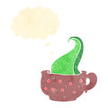 Retro cartoon tentacle in teacup Stock Photography