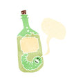 Retro cartoon tequila bottle with talking worm Royalty Free Stock Photo
