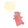 Retro cartoon whistling pig Stock Photography
