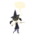 Retro cartoon witch casting spell Royalty Free Stock Images