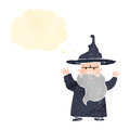 Retro cartoon wizard casting spell Royalty Free Stock Photo