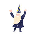 Retro cartoon wizard illustration on plain white background Stock Image
