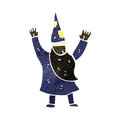 Retro cartoon wizard illustration on plain white background Royalty Free Stock Image