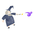 Retro cartoon wizard with texture isolated on white Stock Photo
