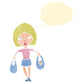 Retro cartoon woman carrying shopping bags Stock Photo