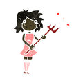 Retro cartoon woman with devil fork illustration on plain white background Stock Image