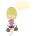 Retro cartoon woman with shopping bags Royalty Free Stock Photography