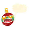 Retro cartoon xmas bauble with speech bubble Stock Image