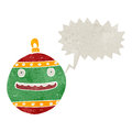Retro cartoon xmas bauble with speech bubble Stock Photography