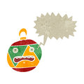 Retro cartoon xmas bauble with speech bubble Stock Photo