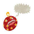 Retro cartoon xmas bauble with speech bubble Stock Photos