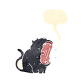 retro cartoon yawning black cat