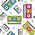 Retro cassette and radio recorder seamless pattern colorful