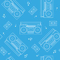 Retro cassette and radio recorder seamless pattern white outline