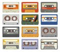 Retro cassettes. Colorful plastic audio cassette vintage media device music technology tapes stereo record images