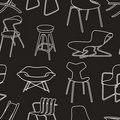 Retro chairs seamless pattern of furniture on blac Royalty Free Stock Photography