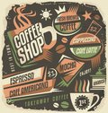 Retro chalk board menu design template for coffee house