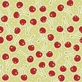 Retro cherries on polka dots Royalty Free Stock Photo