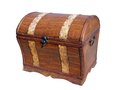 Retro chest stile from wood and imitation leather Royalty Free Stock Photo