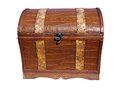 Retro chest stile from wood and imitation leather Stock Photos