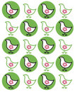 Retro chicks on green dots Royalty Free Stock Photos