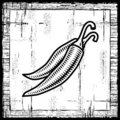 Retro chili pepper black and white Stock Photos