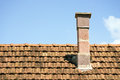 Retro chimney old on the roof Stock Image